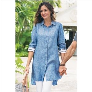 Soft Surroundings 100% linen button up tunic dress